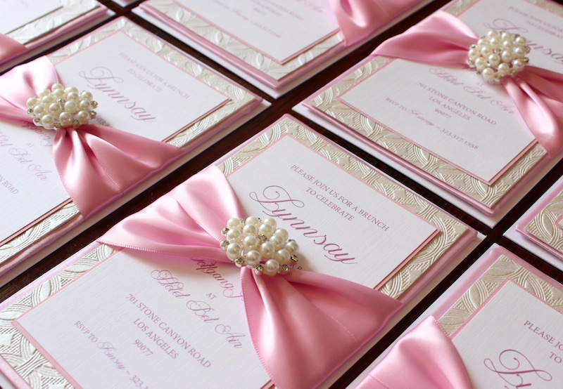 Pink baby girl box invitations with pearl accent for baby shower