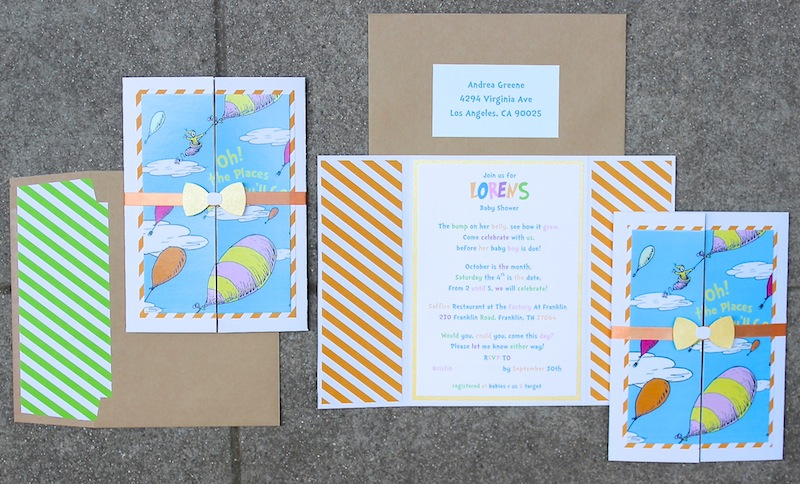 Dr Seuss Theme Oh The Places You Ll Go Invitations For Book Baby Shower