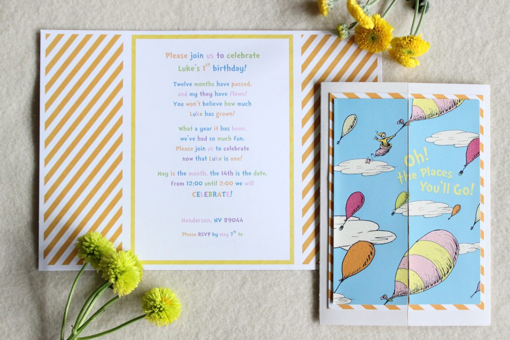 Dr Seuss Oh The Places You Ll Go Theme Birthday Party Baby Shower Invitation