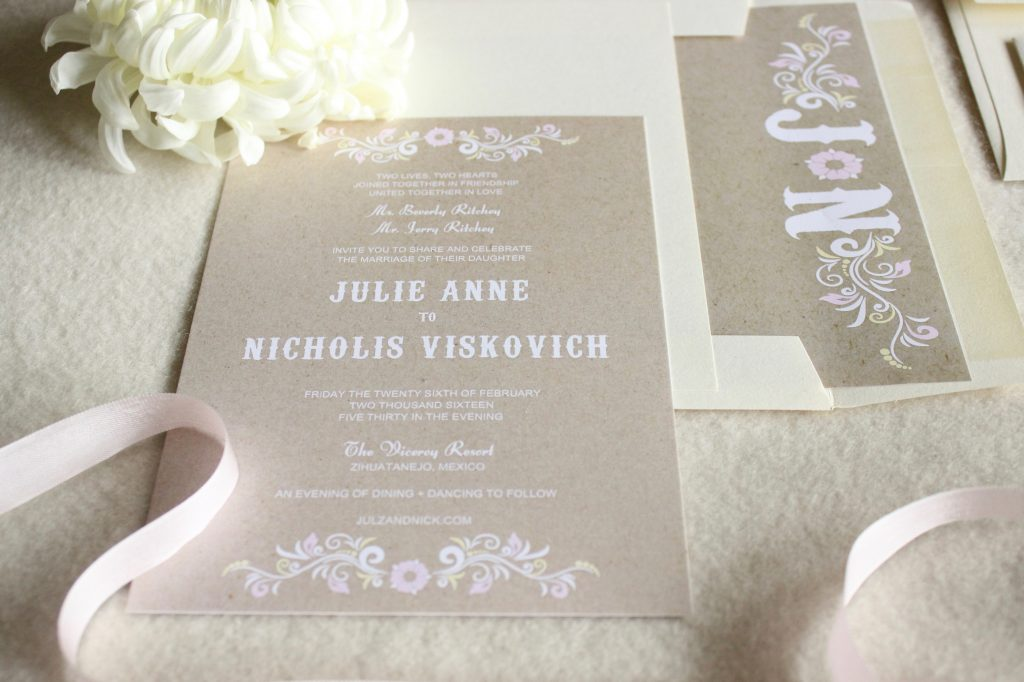 Neutral Wedding Invitations with Monogram Die Cut Initials – Tanja ...